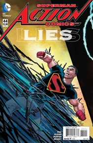 Action Comics #44  I really love Greg Pak's writing. He did a really great job with Storm's solo series and he's really nailing this Superman story. Superman is no longer the hero nor the savior of Metropolis, he's become more of a feared presence and out cast since his identity has be outed. Its definitely a new and creative situation to find Superman in, I mean... HE CAN'T EVEN FLY ANYMORE.