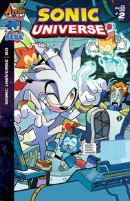 Sonic Universe #80 Sonic Universe is a great all-ages book. It doesn't just focus on Sonic but many of his supporting characters as well. The current story arc focuses on Silver the Hedgehog, it's always fun to see him use his psychic powers.