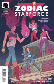 Zodiac Starforce #3  I read the first issue of Zodiac Starforce with low expectations; boy was I a dummy. This book is Sailor Moon meets Steven Universe and it's a ton of fun. An all girl team with cosmic powers, beating up monsters, it's consistently a great read. Plus the colors in this book is some of the best I've ever seen. I highly recommend it!