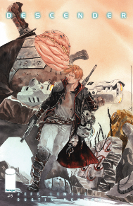 Descender #8  The last issue just dropped a bomb! Not only did Tim 21 find robot brother, but we find out that his missing human brother Andy is still alive and now he hunts robots! This issue has Andy on the hunt for Tim 21, and when he finds him I don't know if it will be for better or worse.
