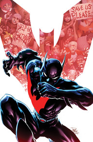Batman Beyond #8 We are finally done with first Arc with Drake as the new Batman Beyond. It was one thing with Terry already being from the future knowing how to use everything but Tim has no clue how most future technologies work. He's still in the process of learning how the suit works. It just makes for a new and interesting take on an old favorite!