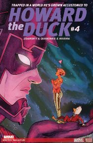 Howard the Duck #4 She's obsessed, she's powerful, she's ALMOST the new herald of Galactus! And like the rest of the universe, SCOUT is after Howard. But with an eye to ending the hunger of the Devourer of Worlds! Plus: The Silver Surfer! The Stranger! The Guardians of the Galaxy! Chip Zdarsky is so clever and has a way with making me really care for this character.  If you need a fun book to make you laugh then look no further.