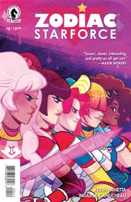 Zodiac Starforce #4  Evil mean girl Diana, powered by the malevolent goddess Cimmeria, is about to overrun the remaining members of the Zodiac Starforce. Can they put their differences aside and unite to free team leader Emma and save the day? It's gonna mean so much detention for them if they don't!  I'm sad to see this series end but it was a lot of fun while it lasted.  This is a book for anyone of all ages to read.