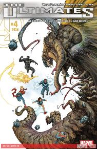 Ultimates #4  This is a great book for anyone who's tired of reading about the same teams with the same superheroes, who are on everyone else' teams.  Some of the team members are probably people you may not have heard of or they bring back those fond suppressed memories from your childhood.  Of course, they do have the one staple hero of Marvel (Captain Marvel), but it works.  I mean four issues in and they have already done great things like curing Galactus' hunger!