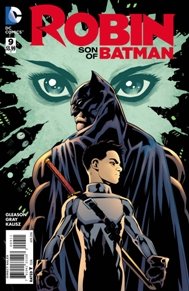 Robin Son of Batman #9 So glad Gleason is back on this book. I don't think we have ever seen a time Damian really has felt a sense of duty, and actually revealing emotion. Damian has always put on this pseudo heartless shoes, but now he has more substance. He actually has feelings for a girl! And since Bruce has been out of commission, he has taken up the gauntlet to protect Gotham until Bruce's return. I think Gleason has done a marvelous job on showing us Damian and everything he has to offer.