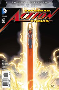Action Comics #50  Action Comics is definitely my favorite Super-man book right now. And issue 50 was really a great monument to our favorite man in blue. Savage has really did a number to the League and Superman and his pals, but even when there is no hope we really see where Superman shines. I love how this book shows us that it's not just Clark that makes Superman but its all of his amazing friends and acquaintances who help make Clack Superman.