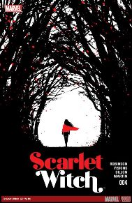 Scarlet Witch #4  In order to confront a new enemy, Scarlet Witch must journey to a magical realm called the Witches Road. The path is full of dark surprises lurking around every corner -- Wanda must keep her wits about her to survive. But will a surprise visit from a long-lost relative make Wanda lose her way?