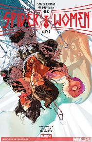 Spider-Women Alpha #1 SPIDER-WOMEN PART 1! The Spider-Event of 2016 is here, bringing SPIDER-GWEN, SILK and SPIDER-WOMAN together for a story too big for any one of their books! Spider-Woman is taking a mentor-role with Silk and Spider-Gwen, and the three spider-heroes take a brunch break on Gwen's Earth-65. But when the nefarious spy organization S.I.L.K. and their leader (Earth-65's Cindy Moon) notice the inter-dimensional interlopers, all of Jessica Drew's plans go wrong.