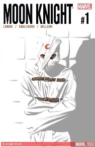 Moon Knight #1  Marc Spector (a.k.a. Moon Knight/Jake Lockley/Steven Grant) has been fighting criminals and keeping New York City safe for years… or has he? When he wakes up in an insane asylum with no powers and a lifetime's worth of medical records, his whole identity (identities) are called into question. Something is wrong, but is that something Marc Spector himself? Jeff Lemire and rising star Greg Smallwood are calling everything you know about Moon Knight into question.