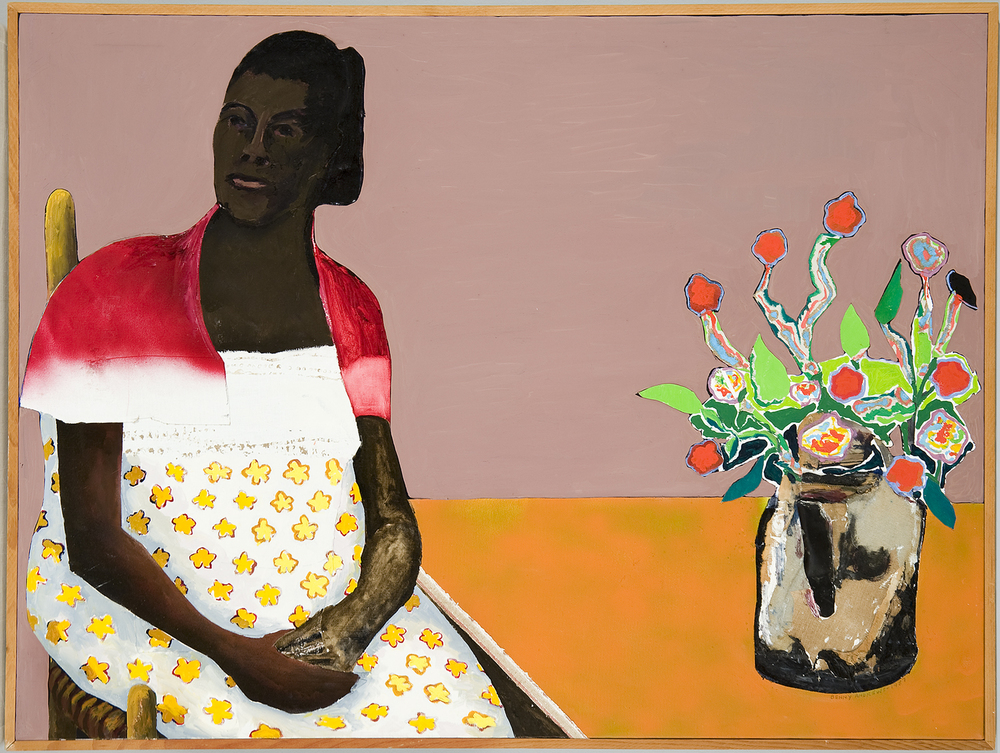 Black Madonna,  1987 oil and collage on canvas 37.5 x 49""