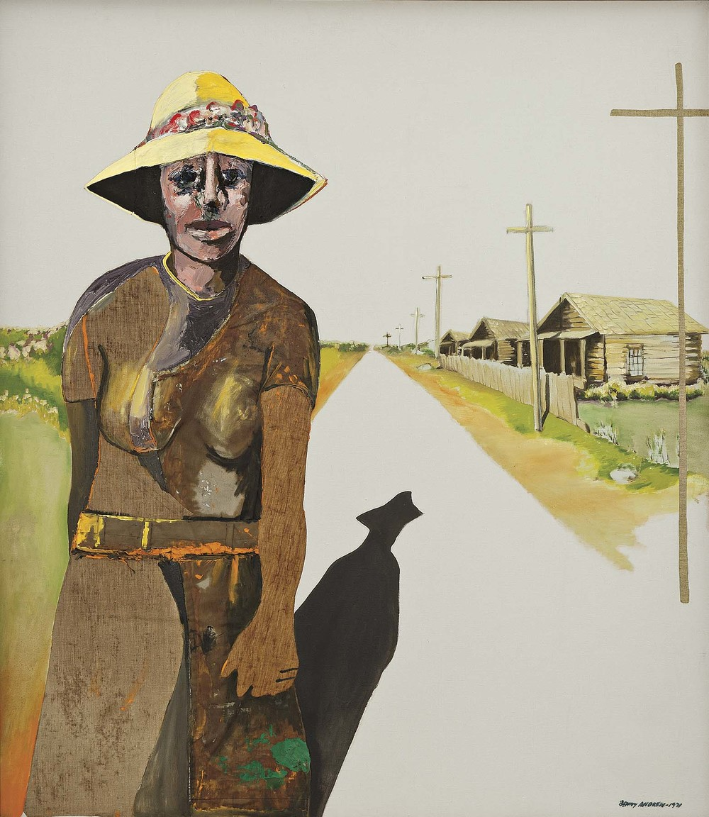 Down the Road,  1971 oil and collage on canvas 55 x 48 x 1.5""