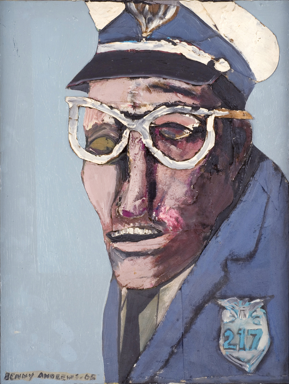 The Cop,  1968 oil and collage on canvas 24 x 18""