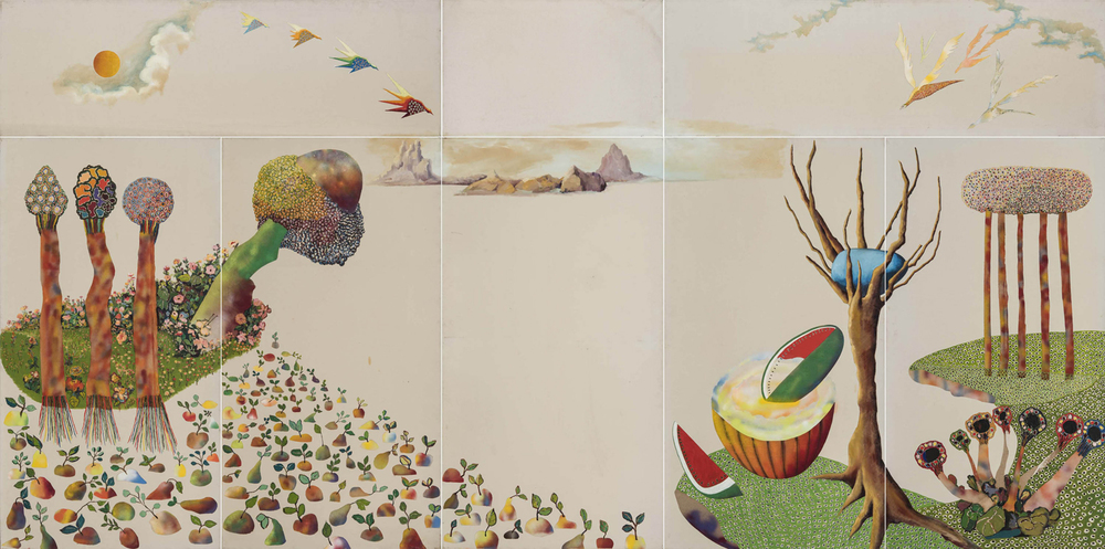 Utopia,  1975 oil and collage on canvas 10 x 20 ft.