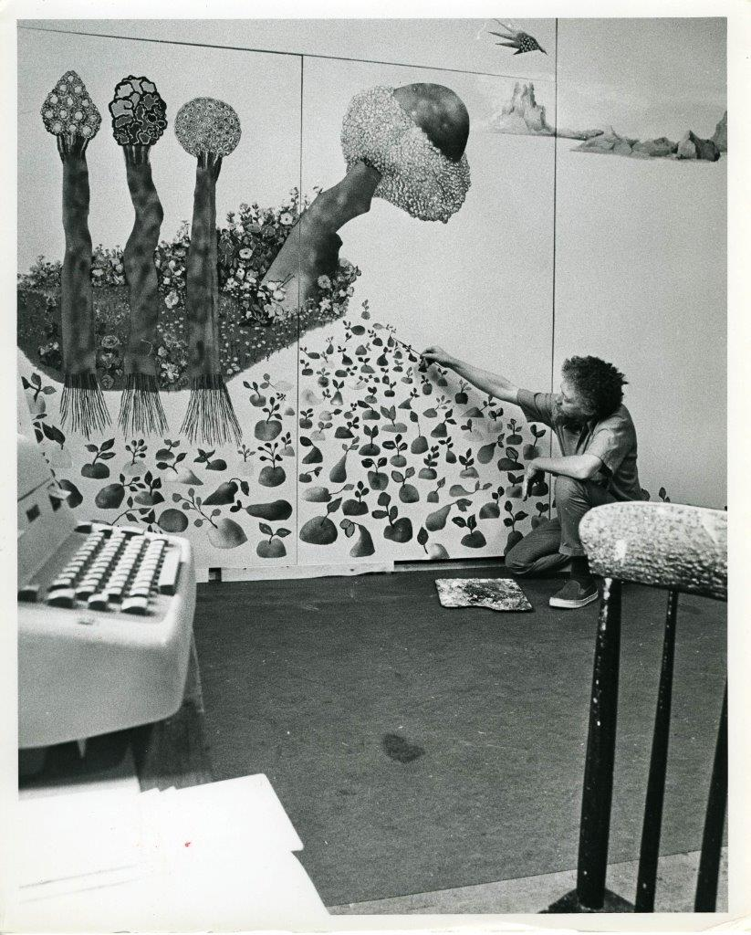 Benny Andrews working on  Utopia  at the MacDowell Colony residency, 1975.