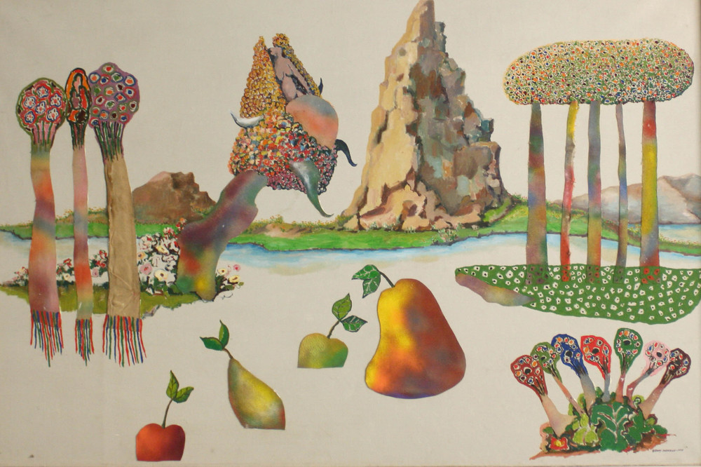 Utopia Study #8 , 1975 oil and collage on canvas 40 x 60""