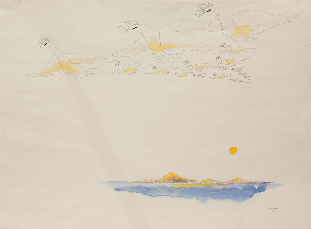 Utopia Study #16,  1975 ink and watercolor on paper 18 x 24""