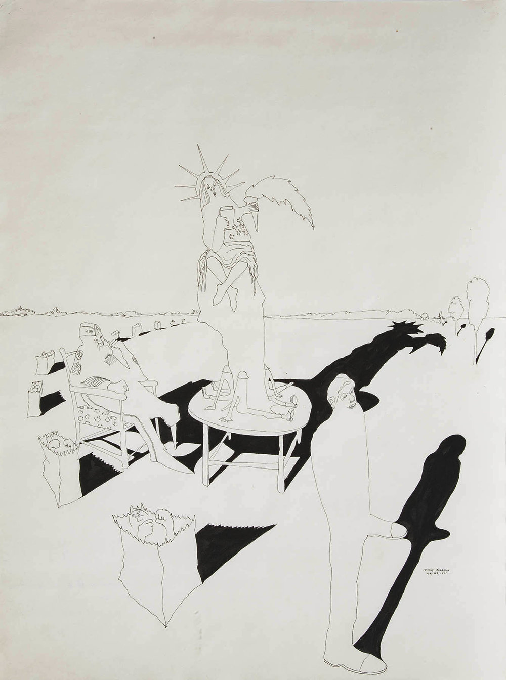 Composition #9 for Trash,  1971 pen and ink on paper 24 x 18""