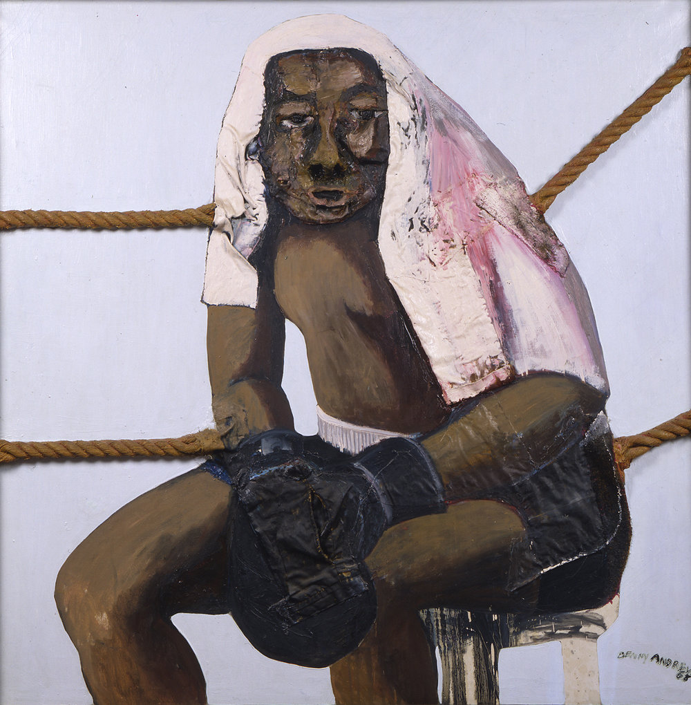 Champion,  1967 oil and collage on canvas 50 x 50""