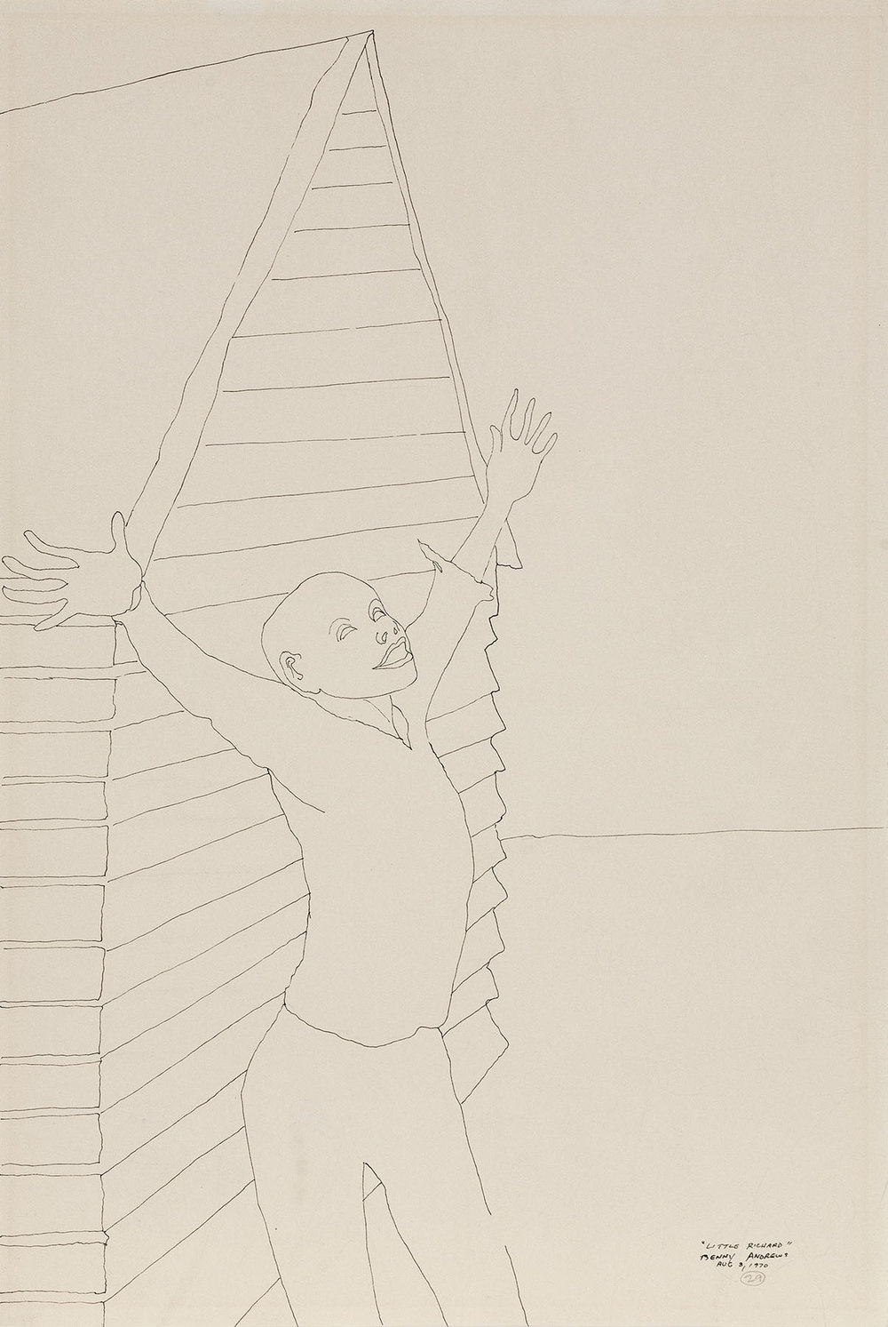 Little Richard (Study for Symbols),  1970 pen and ink on paper 18 x 12""