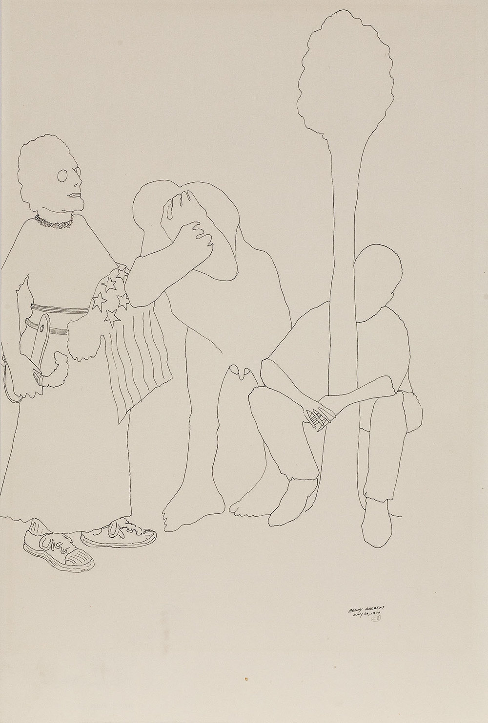 Trio (Study for Symbols),  1970 pen and ink on paper 18 x 12.25""