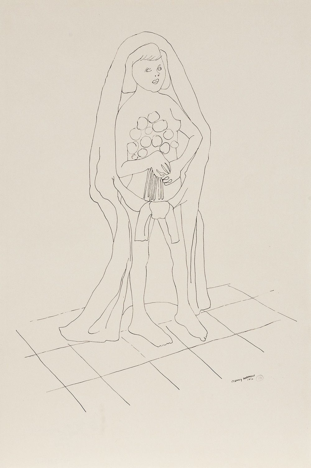 Bride (Study for Symbols),  1970 pen and ink on paper 18 x 12.5""
