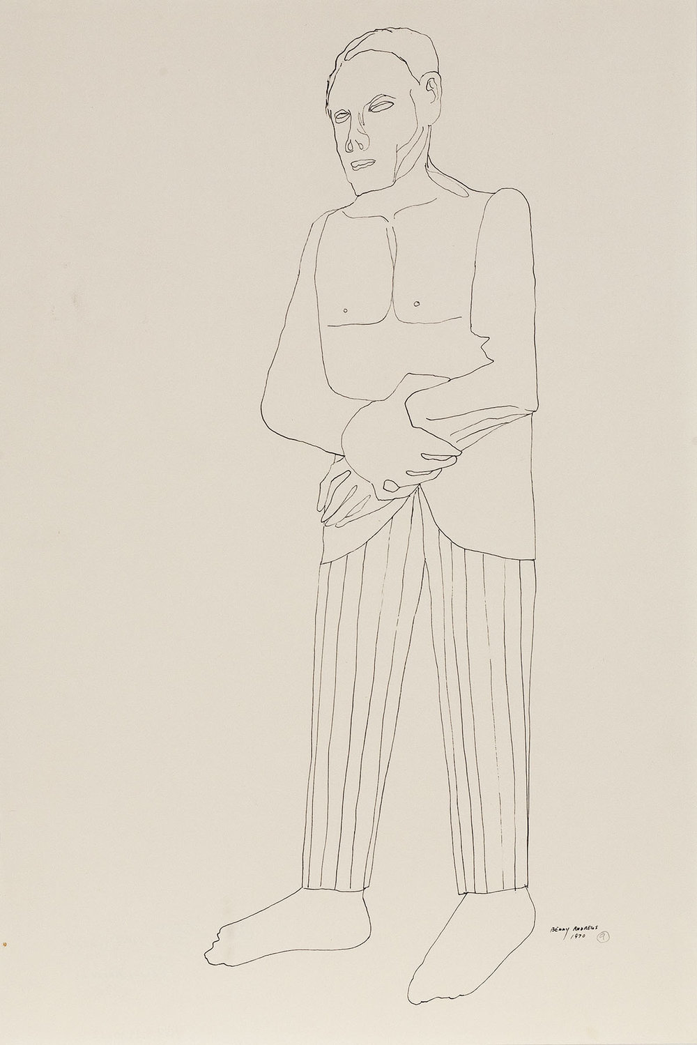 Groom (Study for Symbols),  1970 pen and ink on paper 18 x 12""