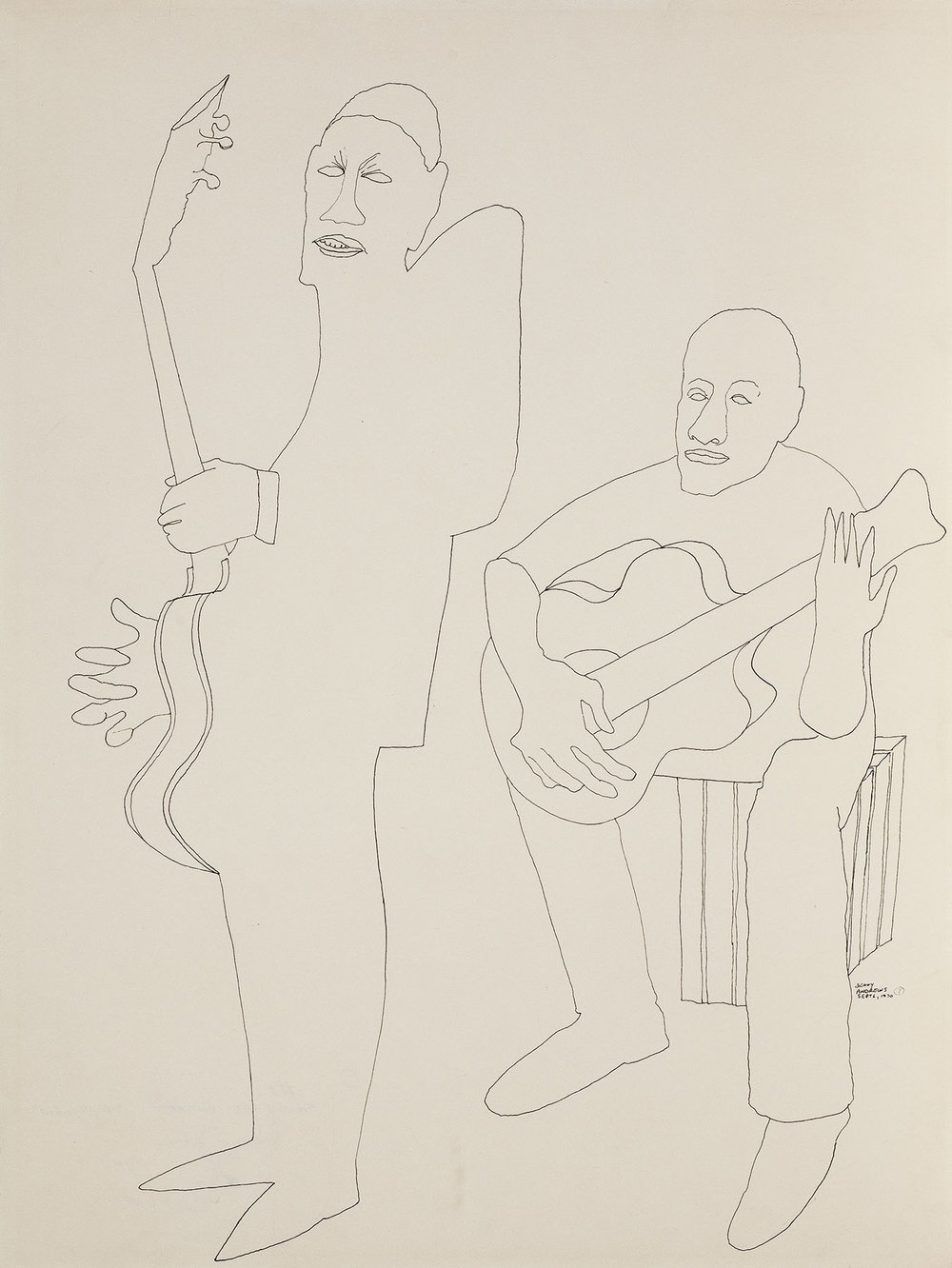 Study of Guitarists for Symbols,  1970 pen and ink on paper 24 x 18""
