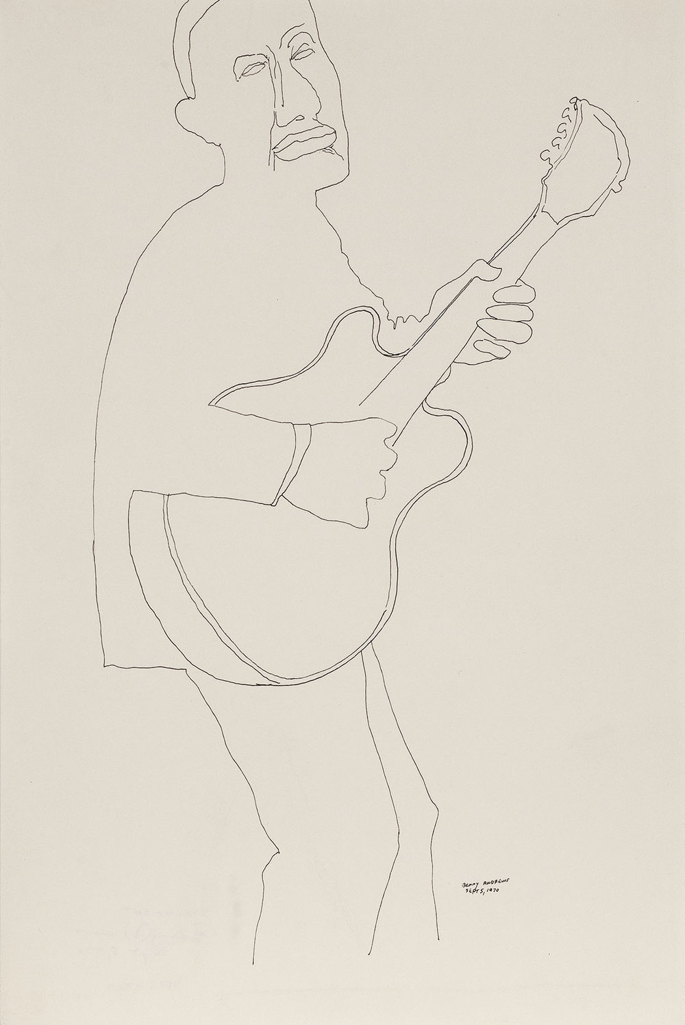 Strummer (Study for Symbols),  1970 pen and ink on paper 18 x 12""