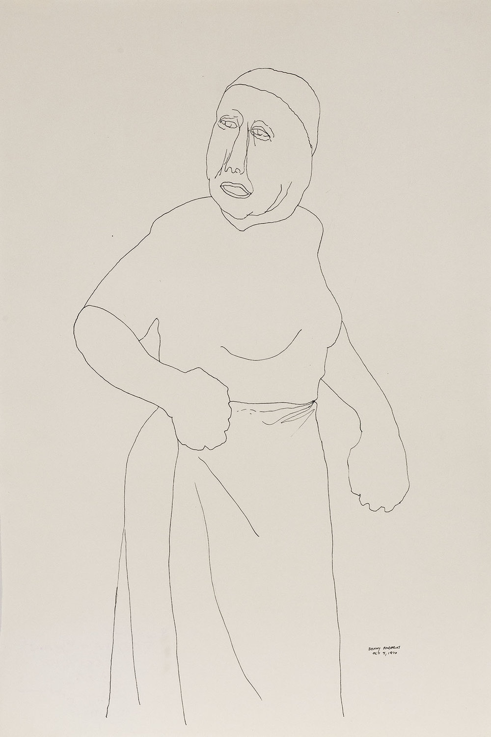 Woman (Study for Symbols),  1970 pen and ink on paper 18 x 12""
