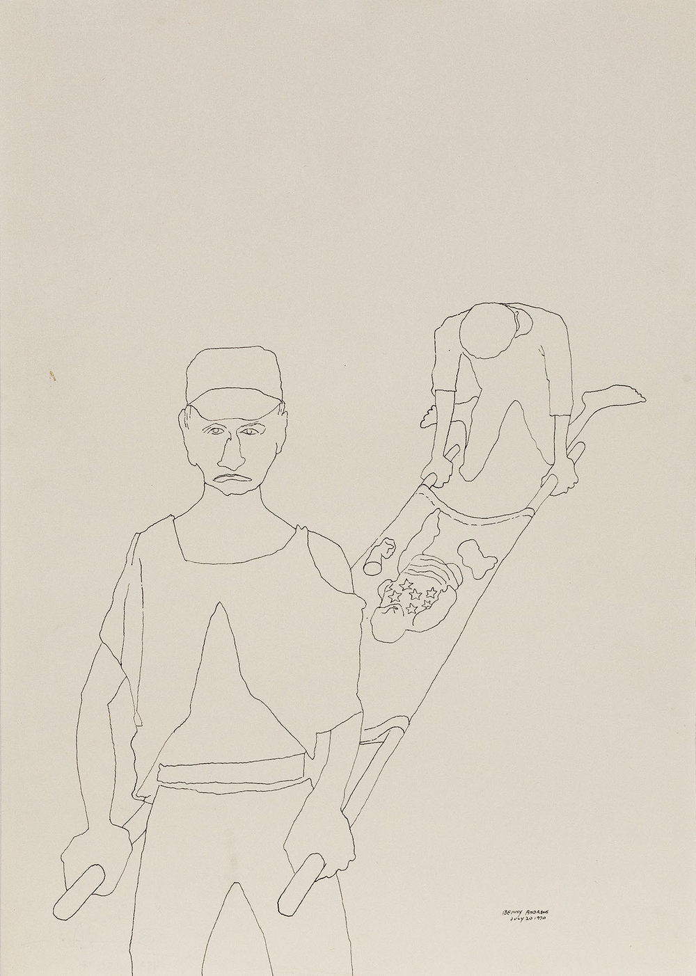 Cargo (Study for Symbols),  1970,  pen and ink on paper 17 x 12""