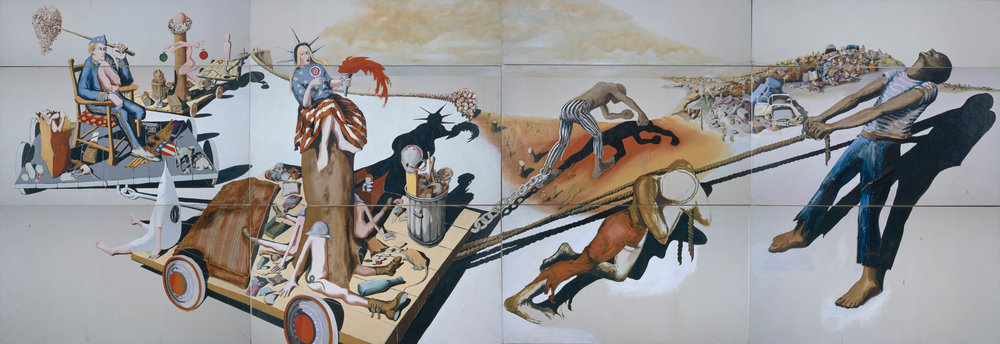 Trash, 1971 oil and collage on canvas 10 x 28 FT.