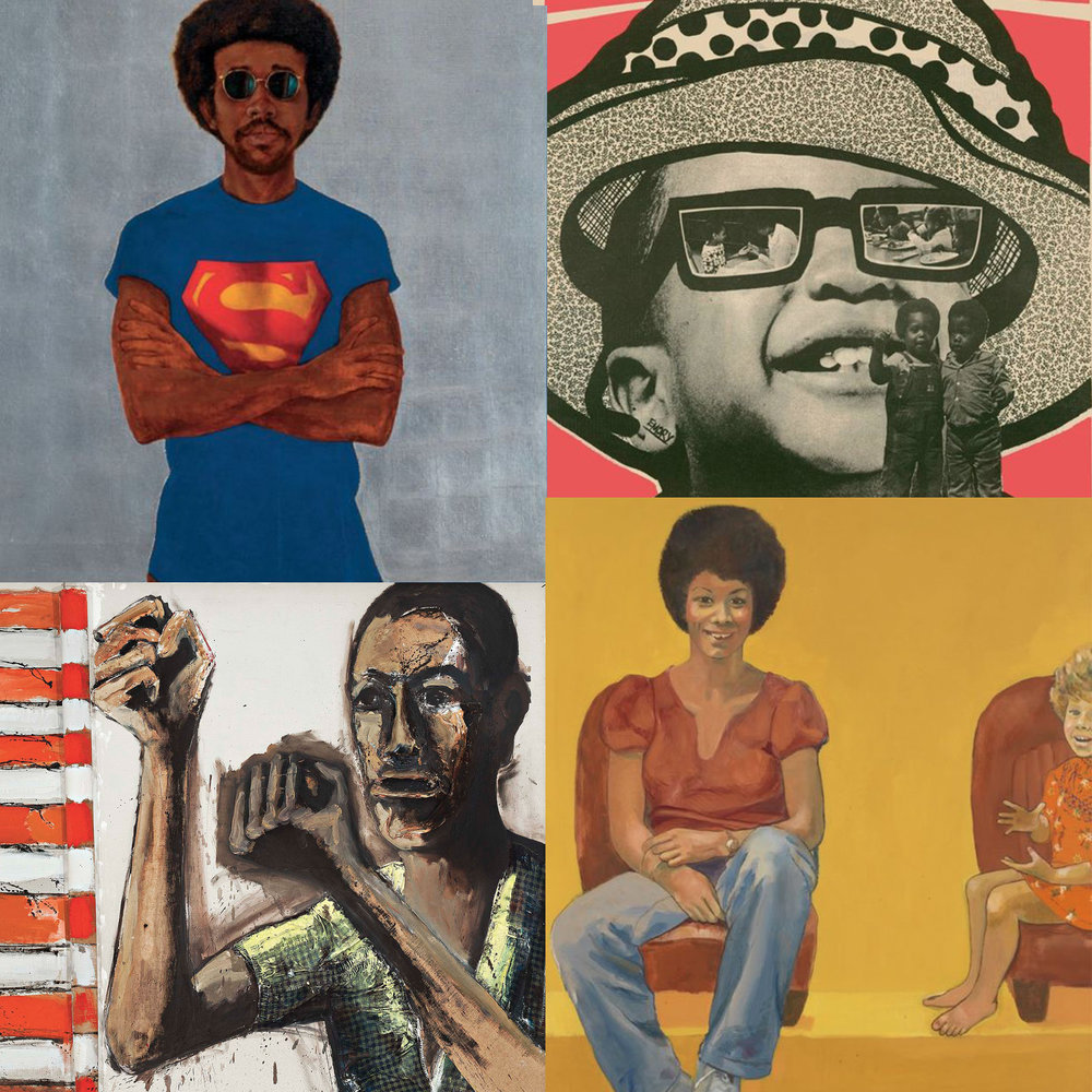 CLOCKWISE FROM UPPER LEFT: BARKLEY L. HENDRICKS' MY MAN SUPERMAN (SUPERMAN NEVER SAVED ANY BLACK PEOPLE – BOBBY SEALE), 1969; EMORY DOUGLAS' WE SHALL SURVIVE WITHOUT A DOUBT, 1971; EMMA AMOS' EVA THE BABY SITTER, 1973; BENNY ANDREWS' DID THE BEAR SIT UNDER A TREE?, 1969