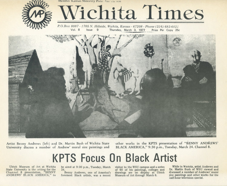FROM THE BENNY ANDREWS ESTATE ARCHIVES: A NEWSPAPER ARTICLE IN  T  HE WICHITA TIMES,  FEATURING BENNY ANDREWS (LEFT) IN CONVERSATION WITH DR. MARTIN BUSH OF WSU, PHOTOGRAPHED IN FRONT OF ANDREWS'  S  YMBOLS.   THE PAINTING, WHICH MEASURES 8 X 36' WAS ACQUIRED BY WICHITA STATE'S ULRICH MUSEUM IN 1977, THE YEAR OF THIS PUBLICATION.