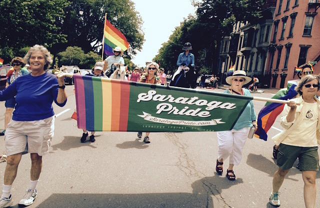 Saratoga Pride banner in Albany Pride Parade