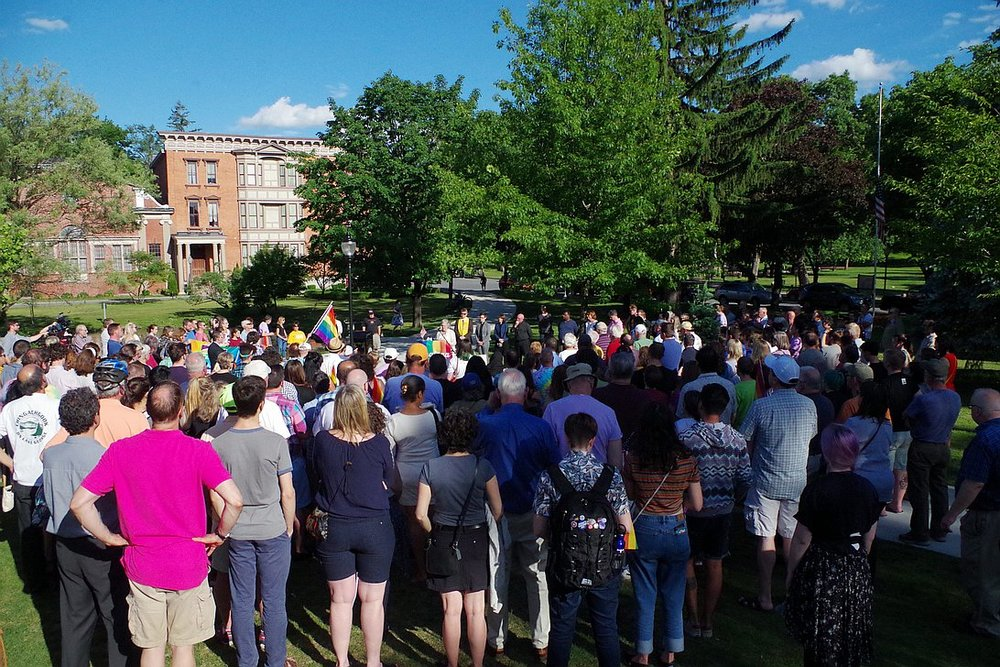A large, supportive crowd was on hand at Congress Park in downtown Saratoga attending a vigil being held for the victims of the Pulse LGBTQ nightculb shooting in Orlando this past weekend, on Tuesday June 14, 2016  |  PHOTO: Ryan Zidek