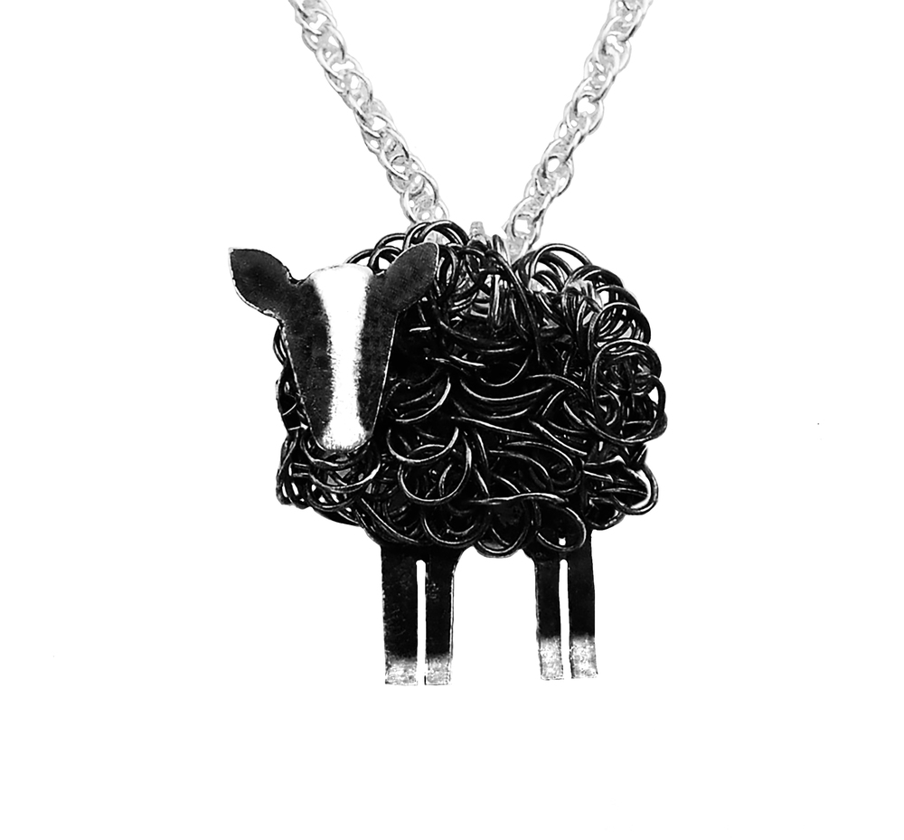 silver zwartbles sheep pendant