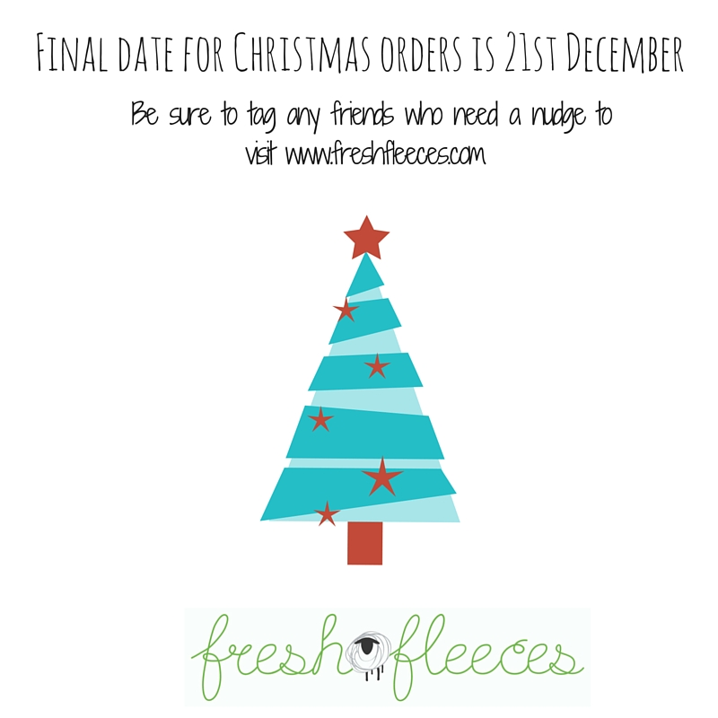 We are super busy getting all your little sheep and cows ready for Christmas.  Our final date for orders is Monday 21st December to ensure all parcels will be with you in time to put under the tree!