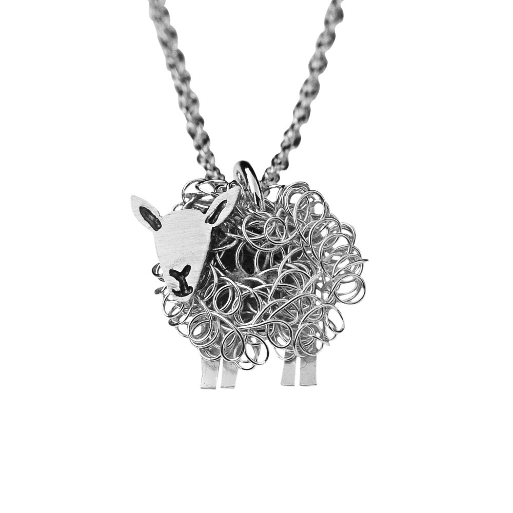 Cheviot sheep pendant necklace