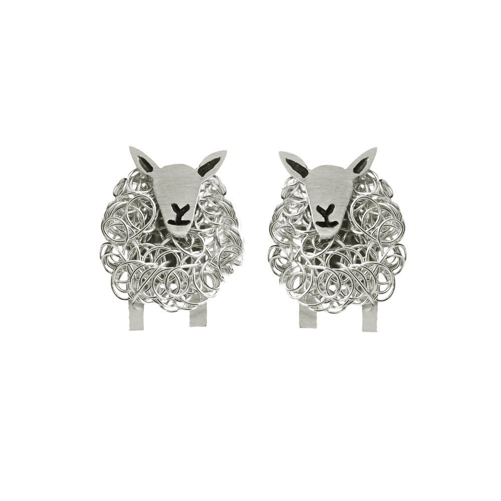 Cheviot sheep silver stud earrings