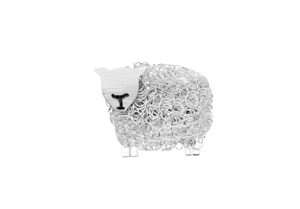 texel sheep brooch pin
