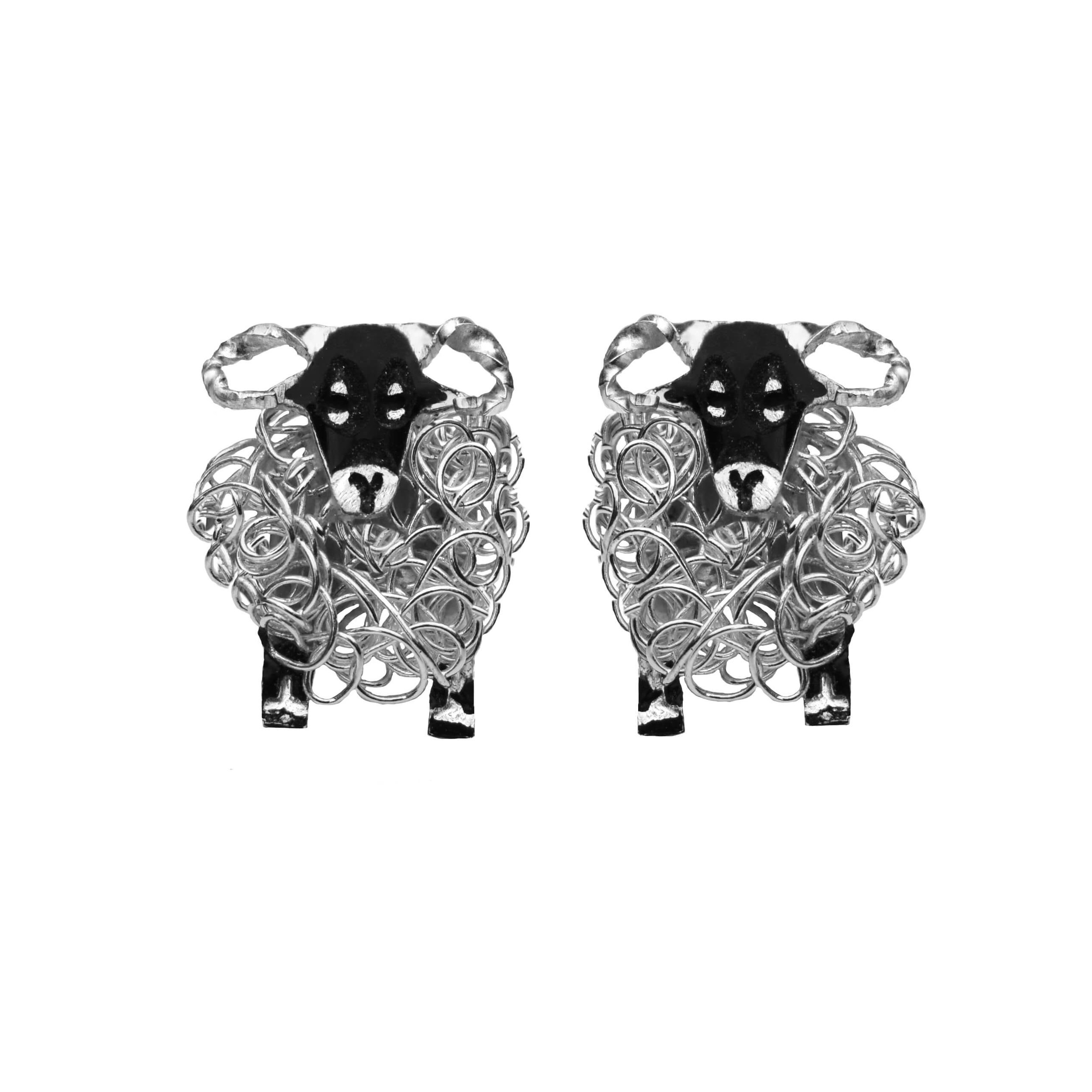 White Sheep Stud Earrings - Sterling Silver