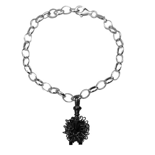 Oxidised silver black sheep charm bracelet sheep jewellery.jpg