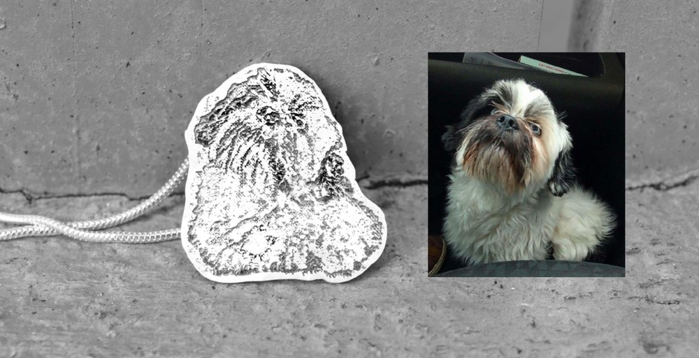 Hand-etched sterling silver Shih Tzu necklace based on a customer's photograph