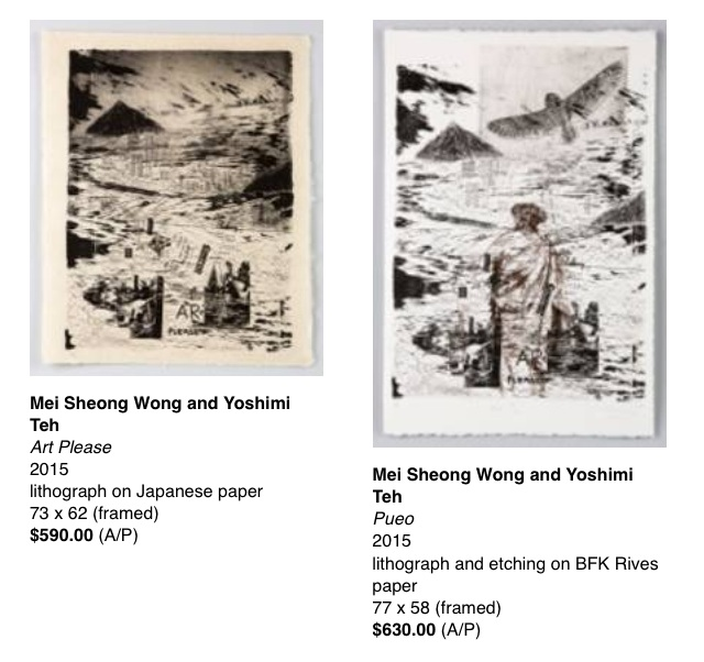 2 lithographs by Mei Sheong Wong and Yoshimi Teh, made during Mei's stay as an artist in residence at the University of Hawai`i at Manoa.