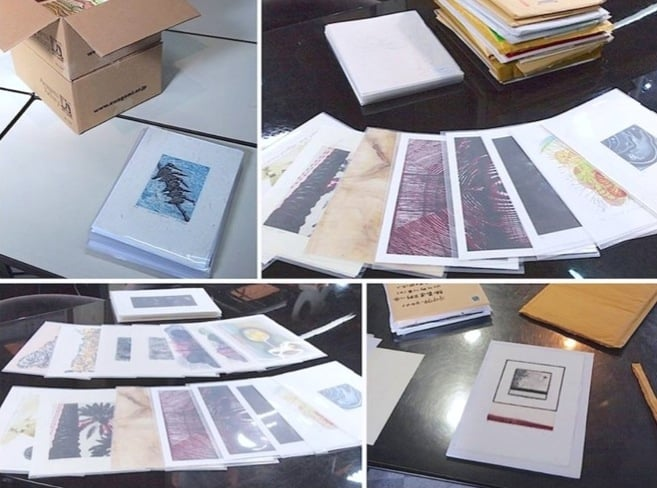 Photographs of print arrival taken by the AIMPE staff. (Bottom right: lithograph + chine-colle by Yoshimi Teh)