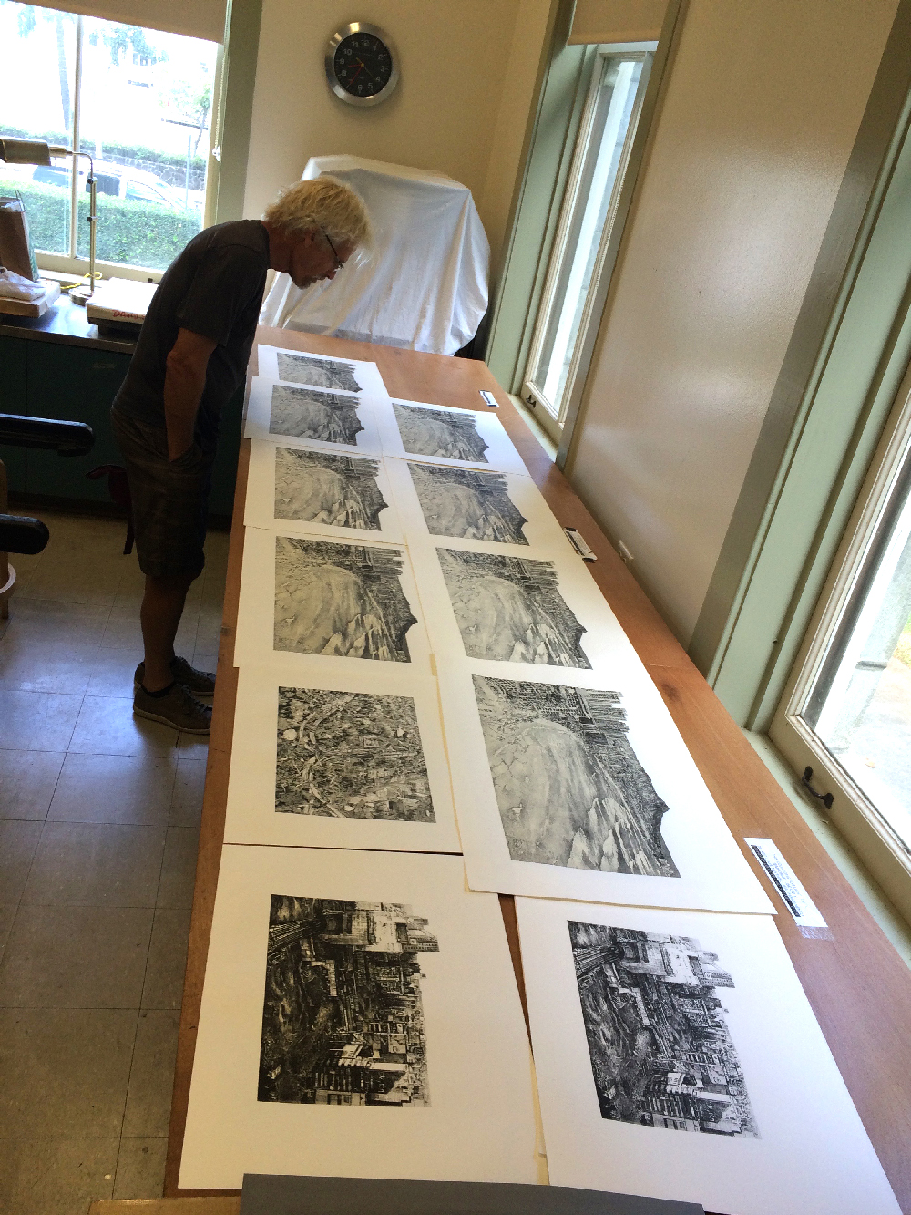 Some of Motoda Hisaharu's prints laid out for the public. (Image by Stephen Salel, assistant curator of Japanese Art at Honolulu Museum)