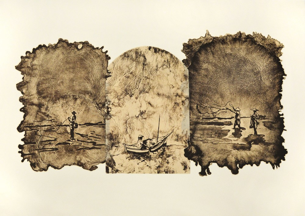 "edition variée ""Communion""  triptych, 41"" x 29"", lithograph and chine-colle"