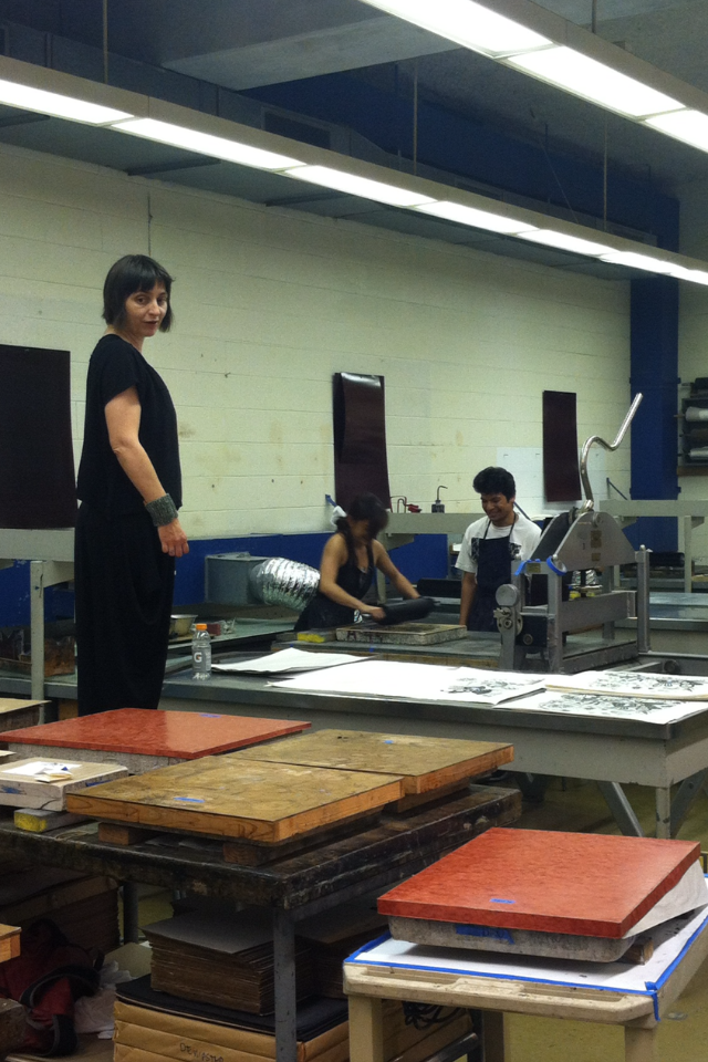 Andrea Dezsö (Artist), Yoshimi Teh (Printer), Eric Cabato (Printer's Assistant)