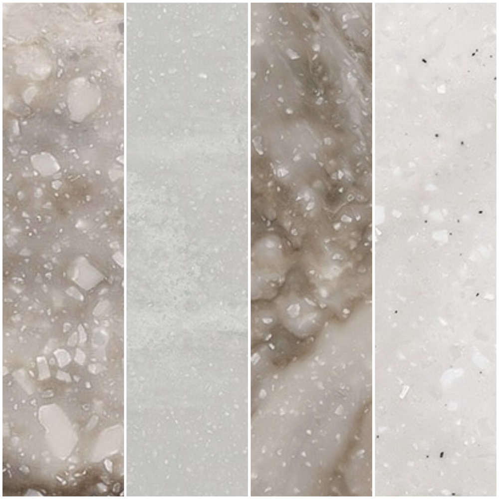 Left to right: Hazelnut, Seafoam, Smoke Drift Prima, and Rain Cloud from Corian