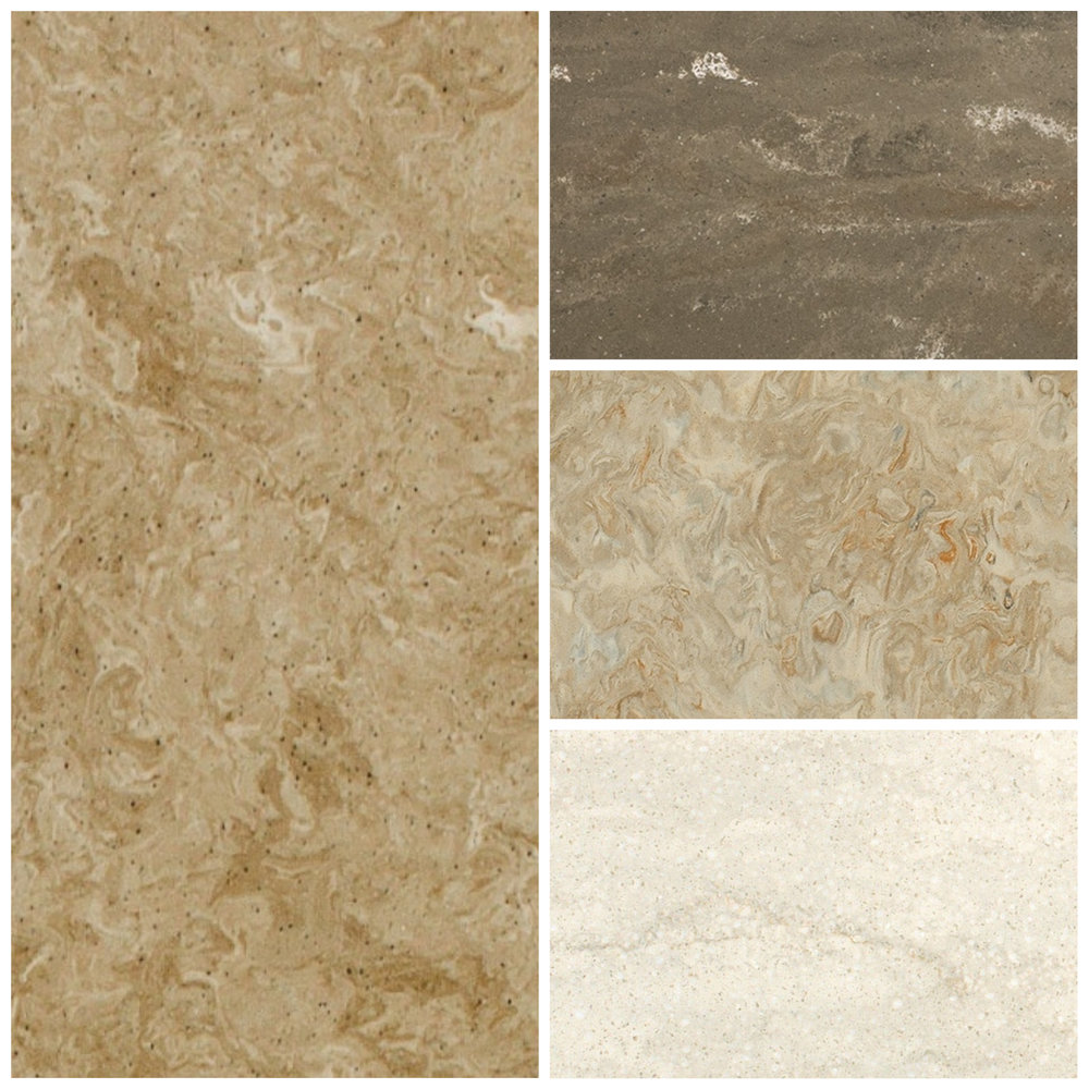 Clockwise from left: Buckskin, Tempest, Cashmere, and Chardonnay from Mystera
